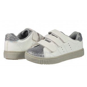 Детски спортни обувки с велкро/лепки за момиче Sprox бели/сребристи