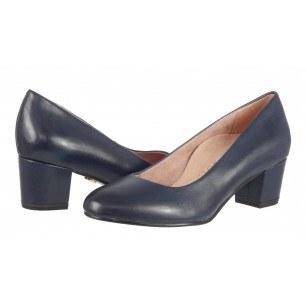 Дамски обувки на нисък ток естествена кожа Tamaris сини HEART & SOLE ANTISHOKK