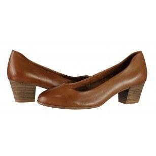 Дамски кожени обувки на ток Tamaris ANTISHOKK® мемори пяна кафяви