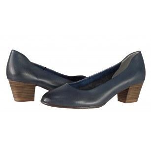 Дамски кожени обувки на ток Tamaris сини ANTISHOKK® мемори пяна