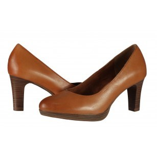 Дамски кожени обувки на ток Tamaris кафяви мемори пяна ANTISHOKK®