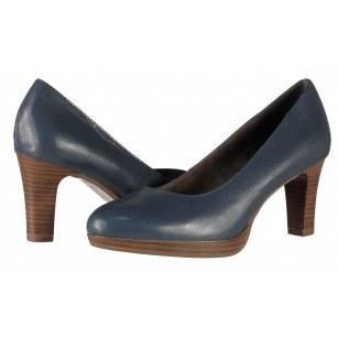 Дамски кожени обувки на ток Tamaris сини мемори пяна ANTISHOKK®