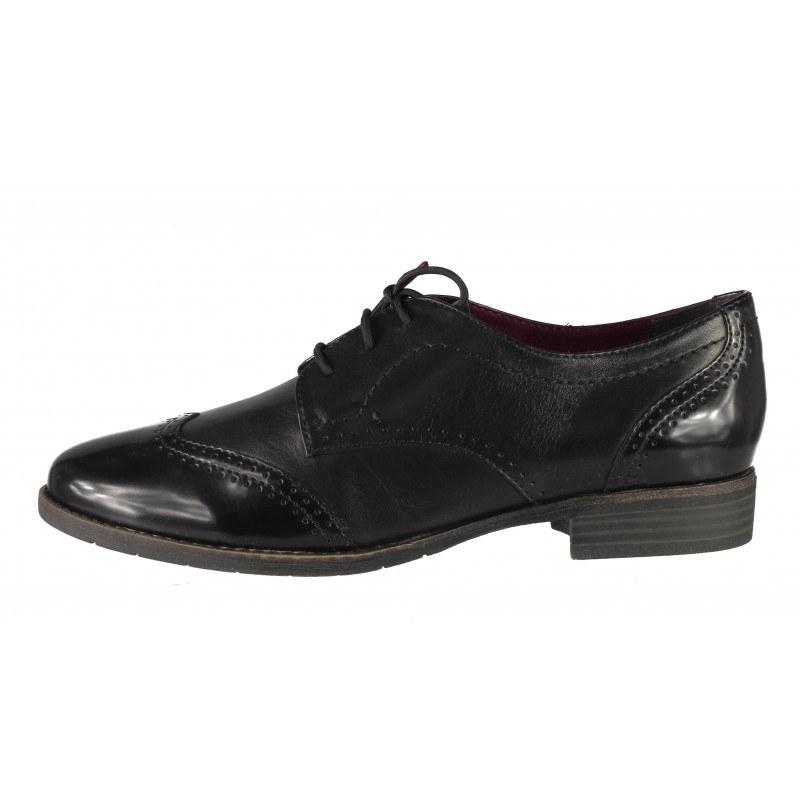 Дамски анатомични кожени обувки с връзки Tamaris черни/лачени комби