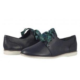 Дамски анатомични обувки от естествена кожа Tamaris сини мемори пяна