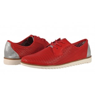 Дамски равни обувки перфорирани Tamaris естествена кожа червени мемори пяна