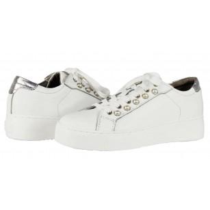 Дамски спортни обувки с връзки естествена кожа Tamaris бели перли