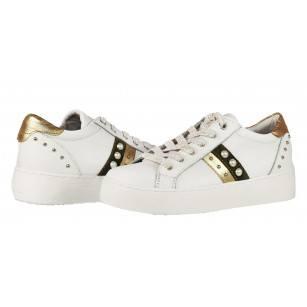 Дамски спортни обувки с връзки естествена кожа Tamaris бели мемори пяна