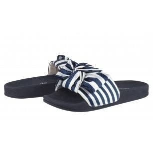 Дамски анатомични чехли Tamaris сини/бели ивици slide