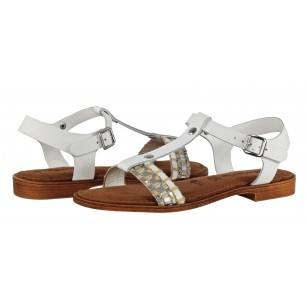 Дамски сандали от естествена кожа Tamaris бели мемори пяна