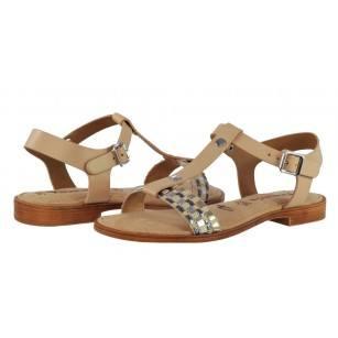 Дамски сандали от естествена кожа Tamaris бежови мемори пяна