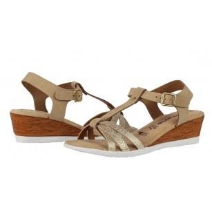 Дамски сандали на платформа Tamaris мемори пяна кафяви/златисти