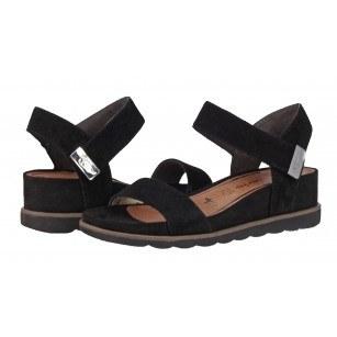Дамски сандали на платформа естествен велур Tamaris мемори пяна Series