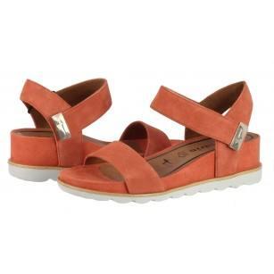 Дамски сандали на платформа естествен велур Tamaris мемори пяна оранжеви