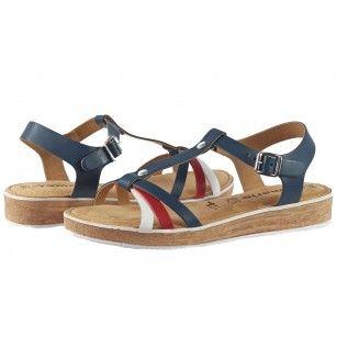 Дамски анатомични сандали от естествена кожа Tamaris сини мемори пяна