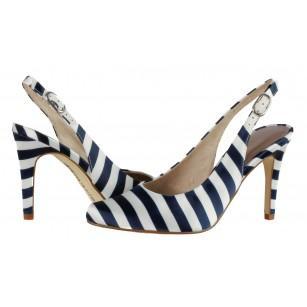 Дамски сандали с тънък ток Tamaris сини/бели
