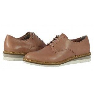 Дамски обувки с връзки Tamaris естествена кожа розови