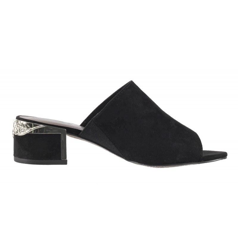 Елегантни дамски чехли на ток Tamaris черни