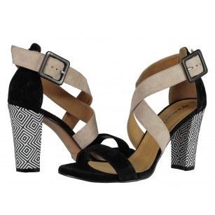 Дамски елегантни сандали на ток Tamaris естествена кожа черно комби