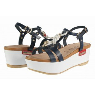 Дамски сандали на платформа естествена кожа Prativerdi бели/сини/червени