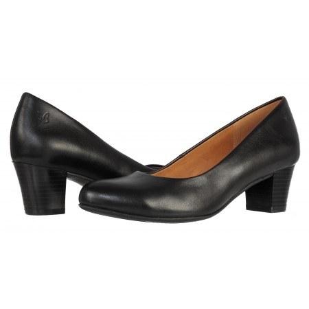 Дамски ежедневни обувки на ток естествена кожа Caprice черни