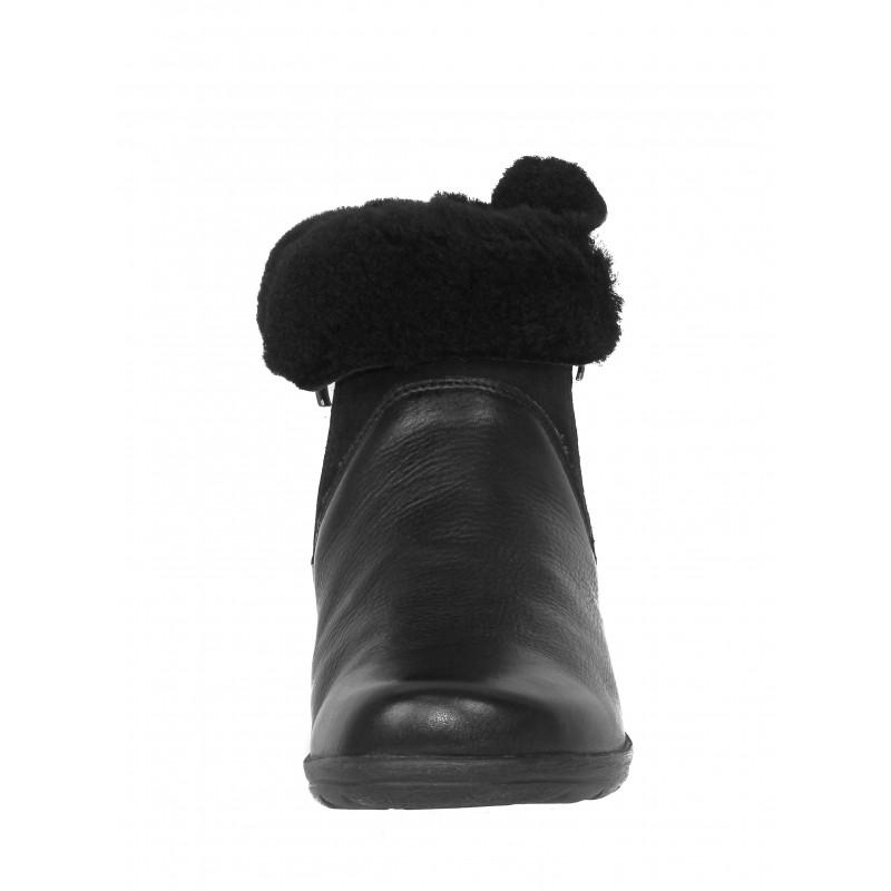 Дамски боти от естествена кожа Caprice черни ширина Н