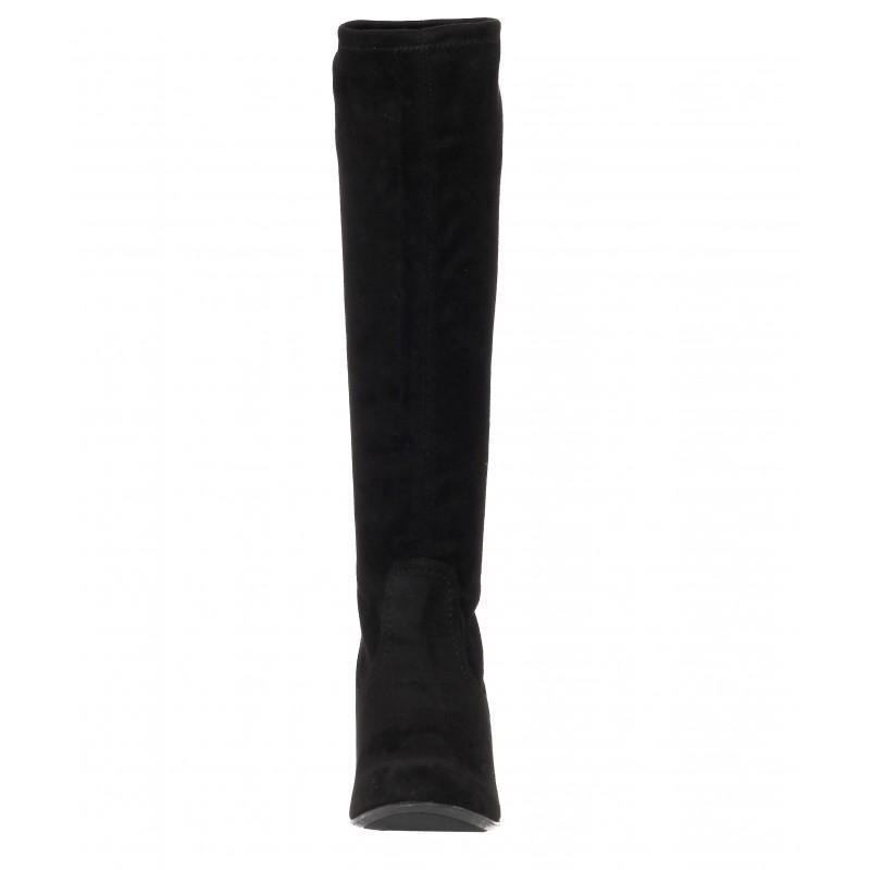 Дамски ботуши с ток Caprice черни тип чорап