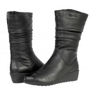 Дамски ботуши естествена кожа Caprice черни