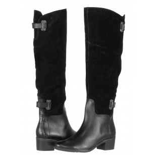 "Дамски ботуши с ток тип ""чизми"" Caprice естествена кожа  черни"