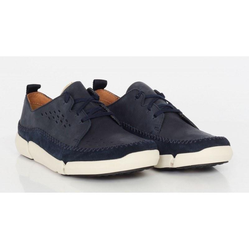 Мъжки кожени обувки с връзки Clarks Trifri Lace сини