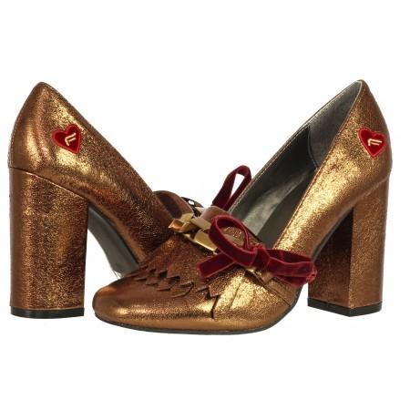 Дамски елегантни обувки на ток Fornarina златисти