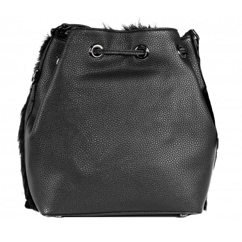 Дамска чанта Fornarina черна пух