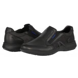 Мъжки спортно-елегантни обувки без връзки от естествена кожа Grisport мемори пяна черни