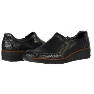 Дамски ежедневни обувки Rieker ANTISTRESS естествена кожа черни
