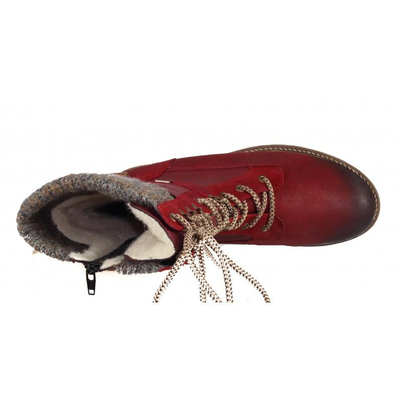 Дамски ботуши с грайфер Remonte естествена кожа червени D7477-35