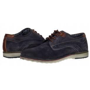 Мъжки елегантни обувки S.Oliver естествена кожа сини