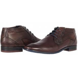 Мъжки кожени обувки с връзки S.Oliver тъмно кафяви