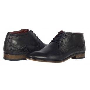 Мъжки кожени обувки с връзки S.Oliver тъмно сини