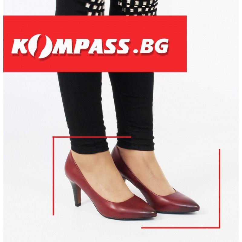 Дамски елегантни обувки на ток естествена кожа S.Oliver  бордо Black Label
