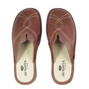 Дамски анатомични домашни чехли Spesita кафяви