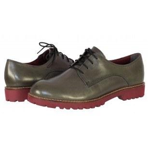 Дамски обувки от естествена кожа Tamaris  тъмно сиви