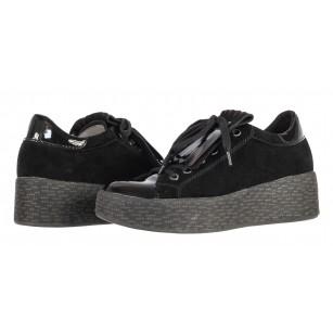 Дамски обувки на платформа Tamaris естествен велур черни мемори пяна