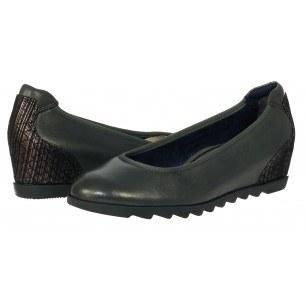 Дамски обувки на платформа Tamaris естествена кожа тъмно сиви мемори пяна