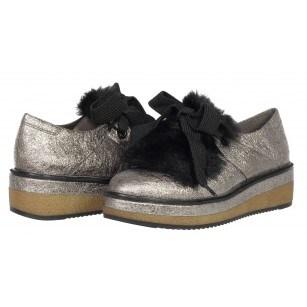 Дамски обувки на платформа Tamaris мемори пяна сребристи