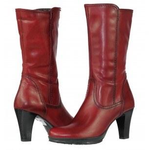 Елегантни дамски къси  ботуши на висок ток Tamaris червени