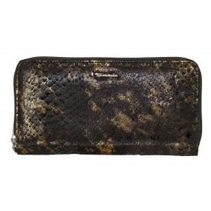 Дамски портфейл Tamaris черен със змийски принт