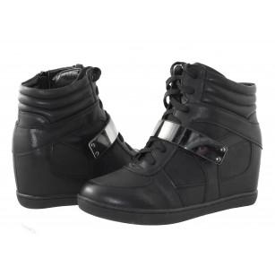 Дамски обувки с вътрешна платформа Mania черни/сребърно