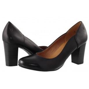 Дамски елегантни обувки на ток естествена кожа Caprice черни
