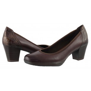 Дамски обувки на ток Marco Tozzi естествена кожа мемори пяна ANTISHOKK кафяво