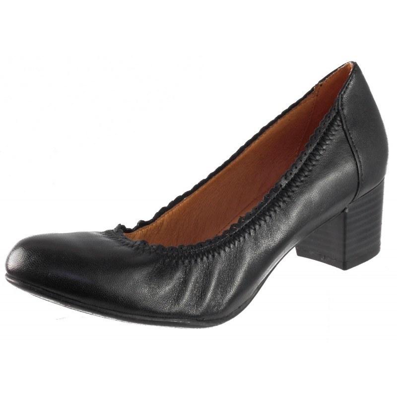 Дамски обувки от естествена кожа на ток Caprice черни