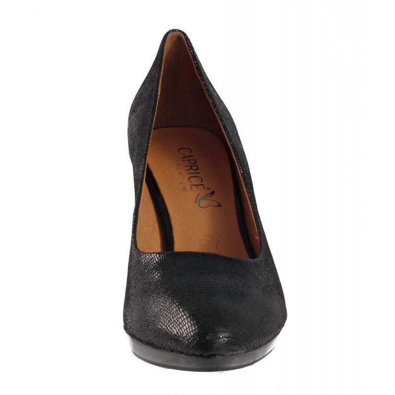 Елегантни дамски обувки на висок ток Caprice черен Reptile